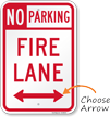 No Parking, Bidirectional Fire Lane Sign