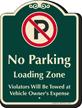 No Parking, Loading Zone, Violators Towed Signature Sign