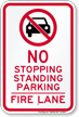 No Parking Or Stopping, Fire Lane Sign