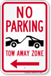 No Parking, Tow-Away Zone In Left Sign