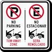 No Parking Tow-Away Zone, No Estacionar Bilingual Sign