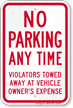 No Parking, Violators Towed Away Sign