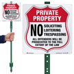 No Soliciting Loitering Trespassing LawnBoss Sign