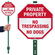 No Trespassing No Dogs LawnBoss Sign