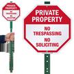 No Trespassing No Soliciting LawnBoss Sign