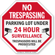 No Trespassing Parking Lot Security Sign
