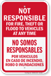 Not Responsible For Fire Theft Bilingual Notice Sign