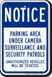 Parking Area Under Camera Surveillance Security Sign