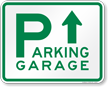 Parking Garage with Up Arrow Sign