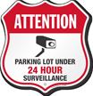 Parking Lot Under Video Surveillance Shield Sign