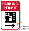 Parking Permit Right Direction Arrow Sign