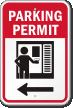 Parking Permit Left Direction Arrow Sign