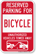 Reserved Parking For Bicycle Vehicles Tow Away Sign