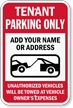 Personalized Tenant Parking Only, Tow-Away Sign