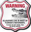 Please Do Not Swim Alligator Warning Shield Sign