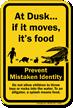 Prevent Mistaken Identity Splash Means Food Alligator Sign
