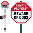 Private Property Beware Of Dogs LawnBoss Sign