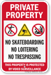 Private Property No Skateboarding Surveillance Sign