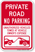 Private Road, No Parking Sign