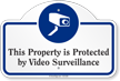 Property Protected By Video Surveillance Dome Top Sign