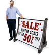 Rolling Roadside Changeable Message Board Sign - White