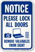 Lock All Doors Remove Valuables From Sight Sign