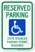 Reserved Parking Disabled Permit Required Sign