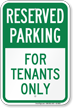 Reserved Parking For Tenants Only Sign