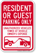 Resident Or Guest Parking Only Sign