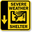 Severe Weather Shelter Down Arrow Sign