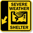 Severe Weather Shelter Down Left Arrow Sign
