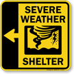 Severe Weather Shelter Left Arrow Sign