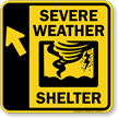 Severe Weather Shelter Upper Left Arrow Sign