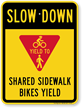 Shared Sidewalk Bikes Yield Slow Down Sign