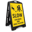 Slow Children And Dogs Playing Sidewalk Sign