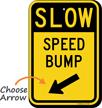 Speed Bump Diagonally Left Arrow Slow Sign