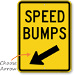 Speed Bumps Diagonally Left Arrow Sign