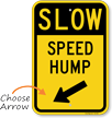 Speed Hump Diagonally Left Arrow Slow Sign