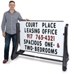 Portable Swinger Changing Message Sidewalk Sign - White