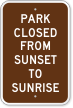 Park Closed From Sunset To Sunrise Campground Sign