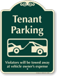 Tenant Parking, Violators Towed Away Signature Sign