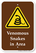 Venomous Snakes In Area Campground Sign