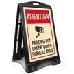 Parking Lot Under Surveillance Sidewalk Sign
