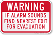 Warning Alarm Sounds Exit For Evacuation Sign