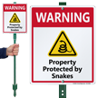 Warning Property Protected By Snakes LawnBoss Sign