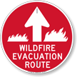 Wildfire Evacuation Route Ahead Arrow Sign