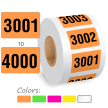 3001-4000 Color Coded Consecutively Pre-Numbered Labels Roll