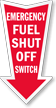 Fuel Shut Off Switch Arrow Safety Label