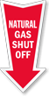 Natural Gas Shut Off Arrow Safety Label