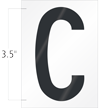 3.5 Inch Tall Vinyl Letter C Black On White
